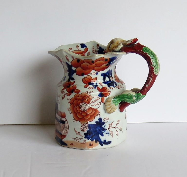 Hand-Painted Very Early Mason's Ironstone Jug or Pitcher Japan Basket Pattern, circa 1815