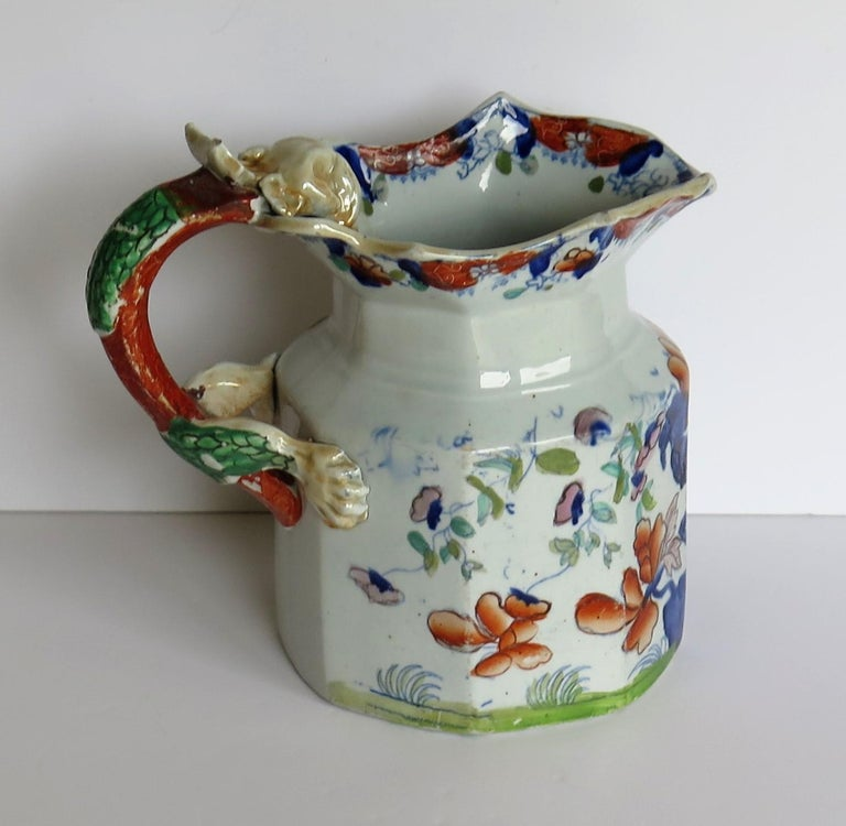 Hand-Painted Very Early Mason's Ironstone Jug or Pitcher Vase & Jardinière Pattern circa 1815 For Sale