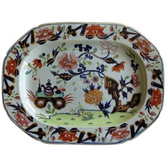 Very Early Mason's Ironstone Platter Small Vase Flowers and Rock Ptn, circa 1815