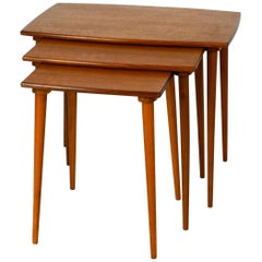 Very Elegant 1960s Set of 3 Nesting Side Tables Made of Teak Made in Denmark
