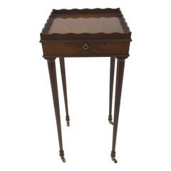 Very Elegant Baker Mahogany Small Square Side Table with Slide