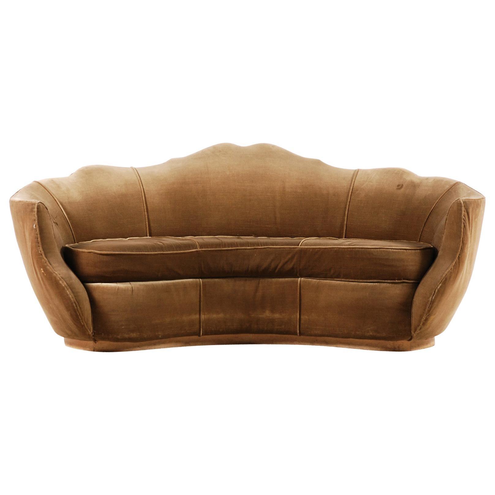 Very Elegant French Art Deco Sofa with Original Velvet Upholstery, 1930s