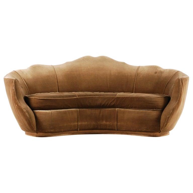 Very Elegant French Art Deco Sofa with Original Velvet Upholstery, 1930s For Sale