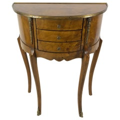 Very Elegant Italian 3-Drawer Burl Wood Demilune Console