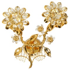 Very Elegant Large 1970s Brass Crystal Glass Floral Wall Lamp by Ernst Palme