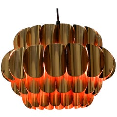 Very Elegant Large 1970s Original Temde Slats Pendant Lamp Made of Copper