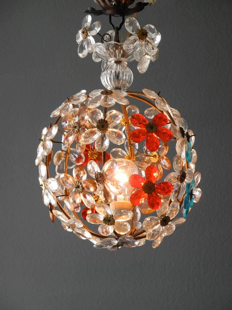 Very Elegant Rare 1960s Christoph Palme Colorful Glass Ceiling Lamp For Sale 3