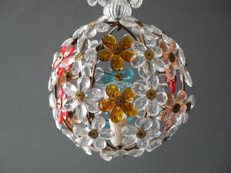 Elegant very rare little 1960s Christoph Palme stained glass ceilings. Very noble design with transparent, red, light blue and orange flowers made of glass. Frame in metal, painted in brass color. Fully functional, with one E27 socket. Wiring is