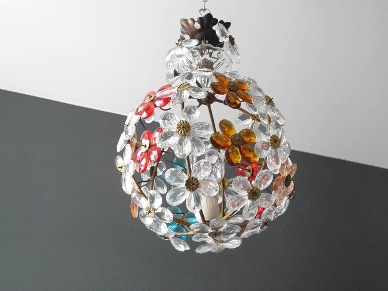 Mid-Century Modern Very Elegant Rare 1960s Christoph Palme Colorful Glass Ceiling Lamp For Sale