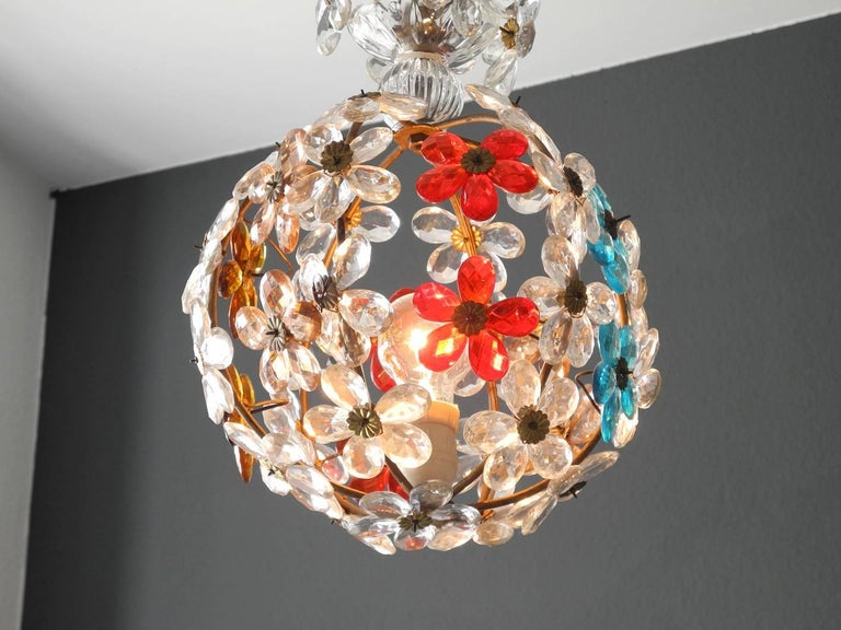 German Very Elegant Rare 1960s Christoph Palme Colorful Glass Ceiling Lamp For Sale