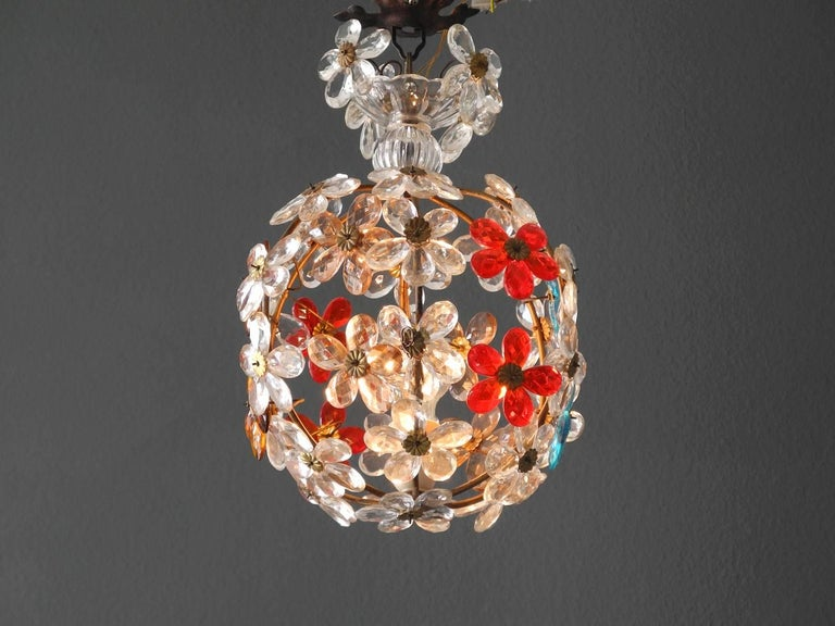 Very Elegant Rare 1960s Christoph Palme Colorful Glass Ceiling Lamp In Good Condition For Sale In München, DE