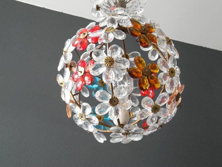 Mid-20th Century Very Elegant Rare 1960s Christoph Palme Colorful Glass Ceiling Lamp For Sale