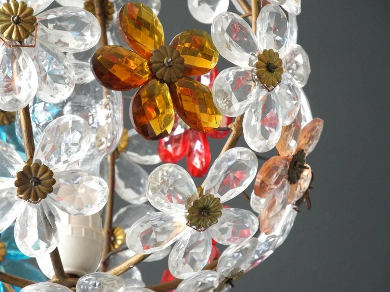 Brass Very Elegant Rare 1960s Christoph Palme Colorful Glass Ceiling Lamp For Sale