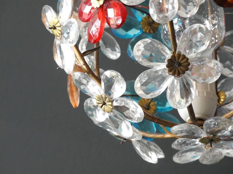 Very Elegant Rare 1960s Christoph Palme Colorful Glass Ceiling Lamp For Sale 1