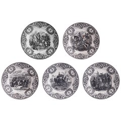 Very Elegant Set of 1930s White Faïence Plates with Black Designs