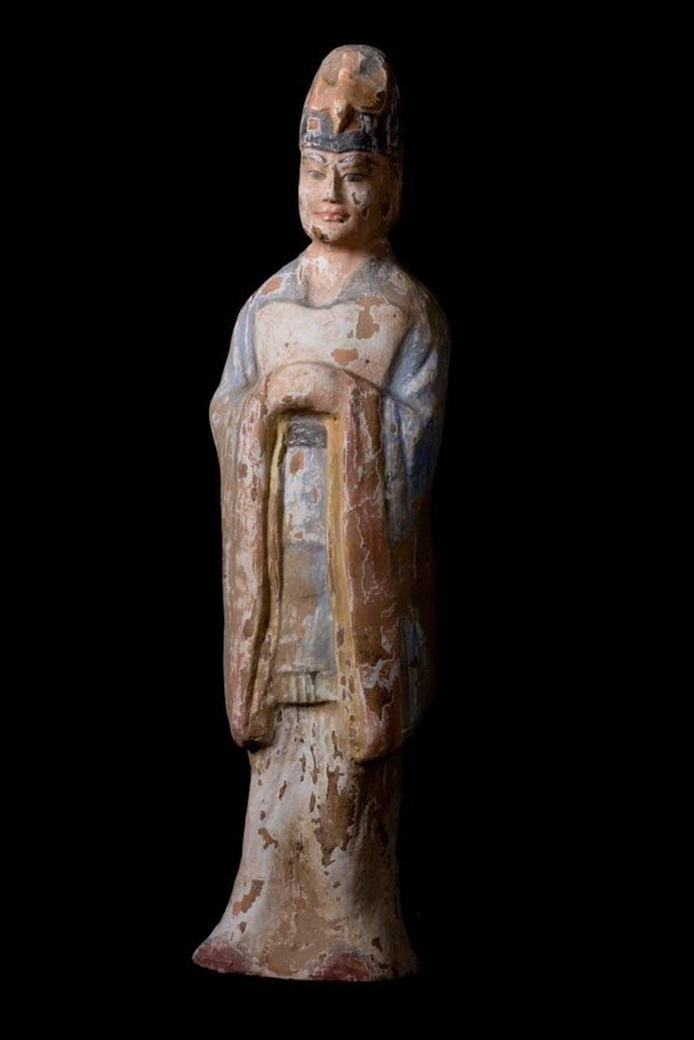 Chinese Very Elegant Tang Dynasty Dignitary in Orange Terracotta, China '618-907 AD' For Sale