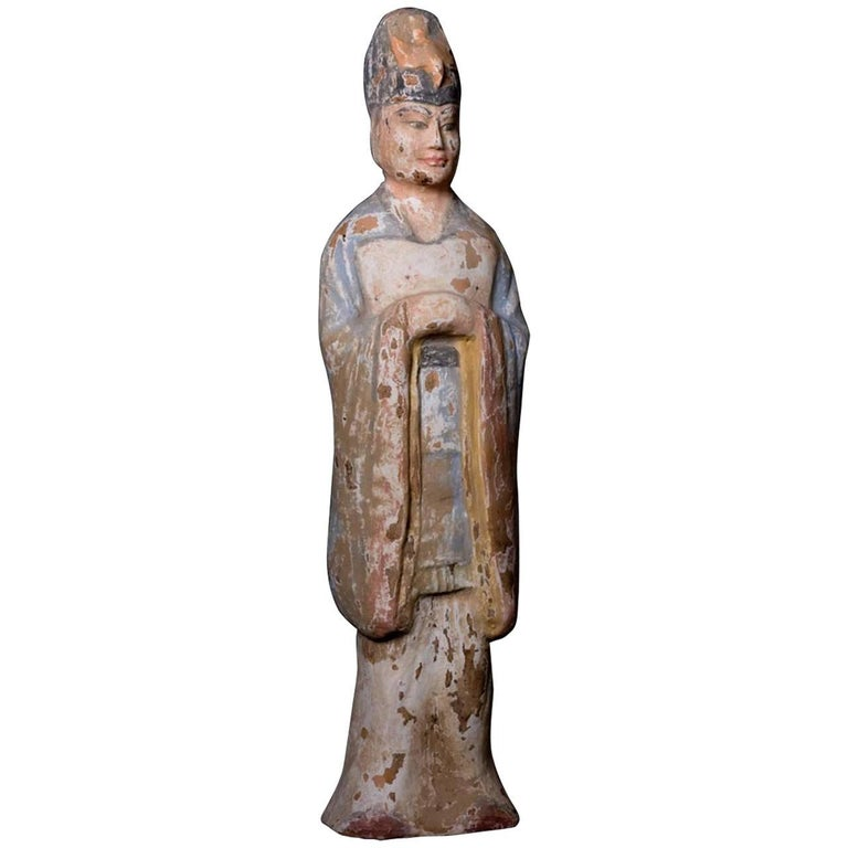 Very Elegant Tang Dynasty Dignitary in Orange Terracotta, China '618-907 AD' For Sale