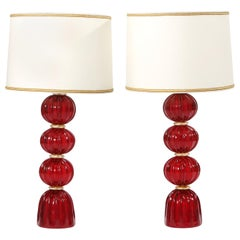 Very Exquisite Pair of Murano Glass Table Lamps