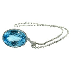 Very Fine 134 Carat Blue Topaz Pendant with Diamonds 14 Karat Gold