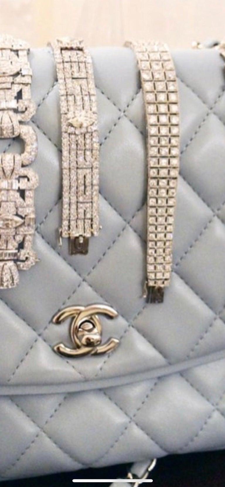 Mixed Cut Original Very Fine 14 Carat Diamond Platinum Bracelet For Sale