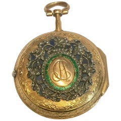 Very Fine 18 Karat Gold Diamond, Enamel Verge Pocket Watch