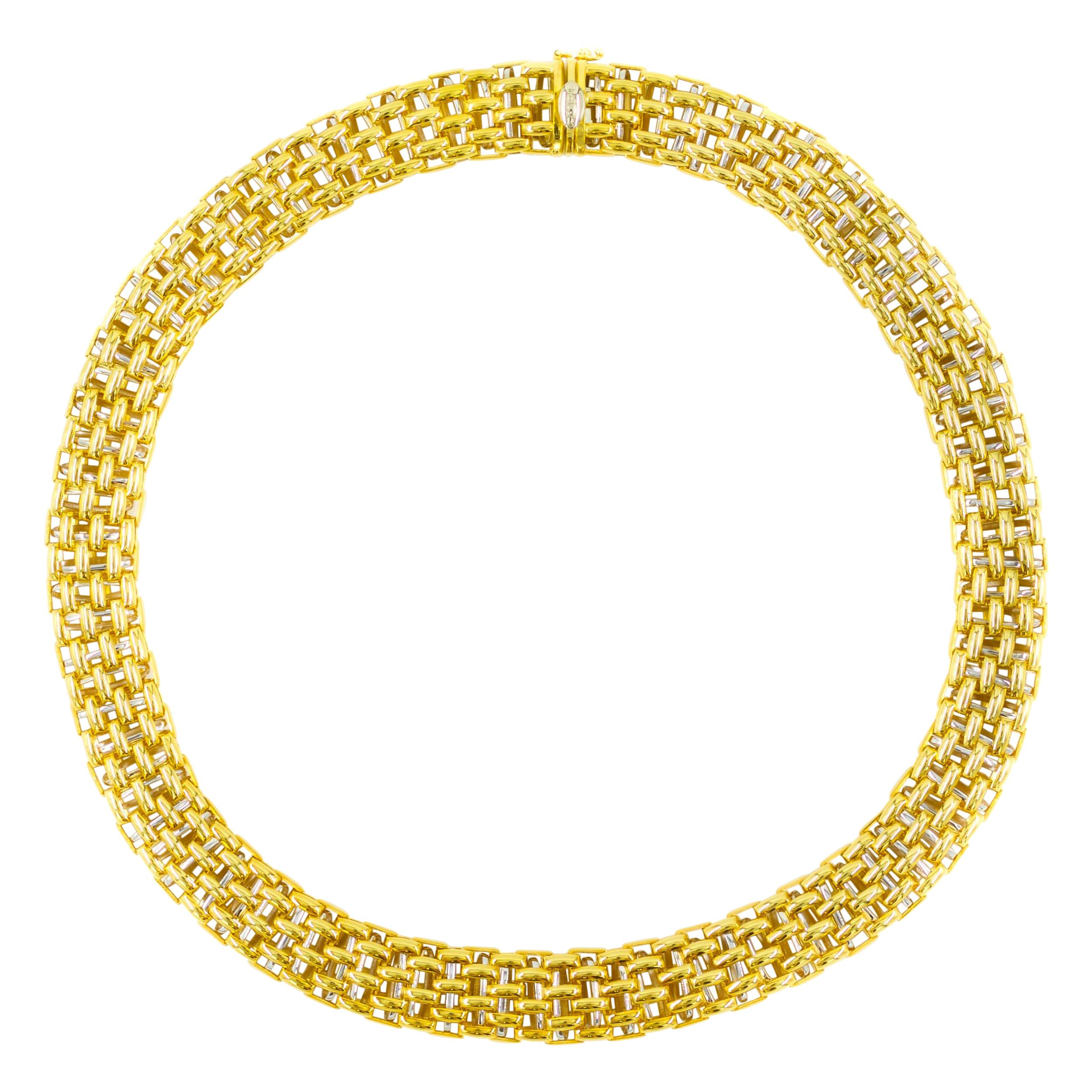 Very Fine 18k Yellow and White Gold Flexible Link Necklace by FOPE