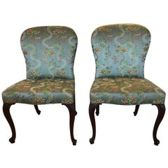 Very Fine 18th Century Georgian Side Chairs Dressed Up in Scalamandre Upholstery