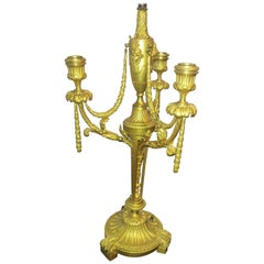 Very Fine 19th Century French Gilt Bronze Lamp Signed F Barbedienne
