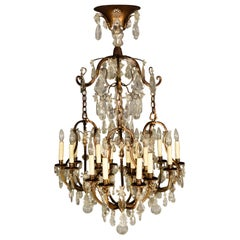 Very Fine 19th Century Gilt Bronze and Crystal Chandelier