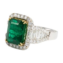 Very Fine 6.20 Carat Deep Green Emerald Ring With 1.85 Carats Of Diamonds