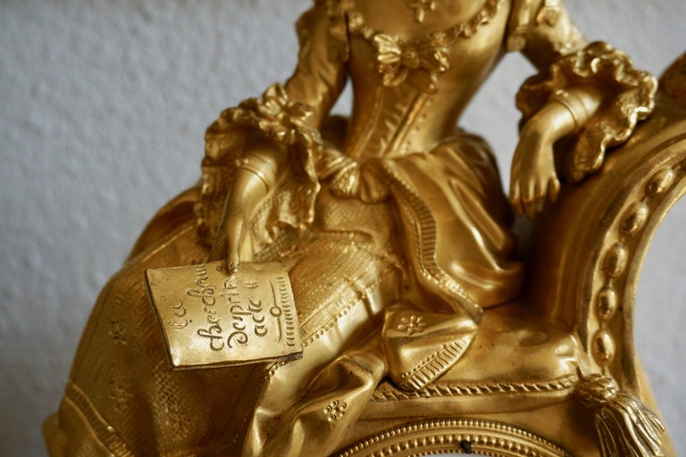 Very Fine and Elegant Fire, Gilt Bronze Mantle Clock in the Romantic Taste For Sale 7