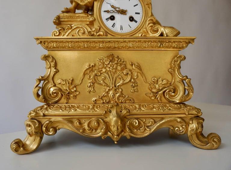 Napoleon III Very Fine and Elegant Fire, Gilt Bronze Mantle Clock in the Romantic Taste For Sale