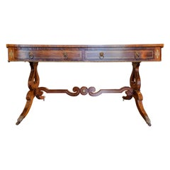 Very Fine and Important Regency Period Rosewood and Brass Inlayed Desk