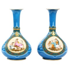 Very Fine and Large Pair of Old Paris Porcelain Vases
