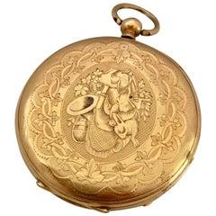 Very Fine Antique 18 Karat Gold Engraved Case Key-Winding Pocket Watch