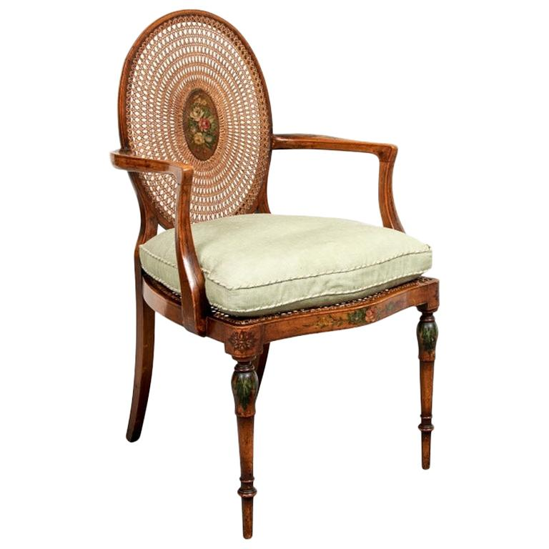 Very Fine Antique Adam Style Caned Armchair