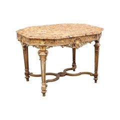 Very Fine Antique Neoclassical Gilt Marble Top Center Table