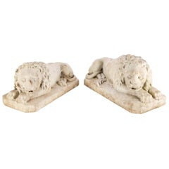 Very Fine Antique Pair of Carved Marble Lion Figures