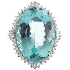 Very Fine Aquamarine 50+ Ring Set with 2.20 Carat of Diamonds