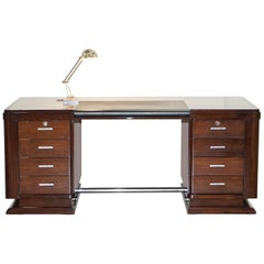 Very Fine Art Deco Hardwood Desk Bought from Galerie Jacques Lacoste, Paris