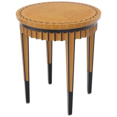 Very Fine Artist Signed Pedestal Shape Stand Side Table Gueridon Scallop Edge