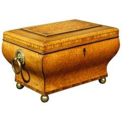 Very Fine Biedermeier Period Tea Caddy of Bombe Form in Exotic Woods, Circa 1830