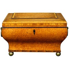 Very Fine Biedermeier Period Tea Caddy of Bombe Form in Exotic Woods, Circa 1830