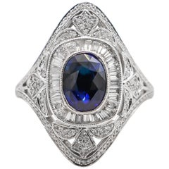 Very Fine Blue 1.80 Carat Sapphire Ring with Diamonds 18 Karat Gold