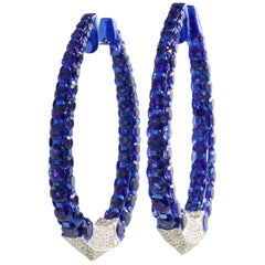 Very Fine Blue Sapphires Diamond Hoop Earrings