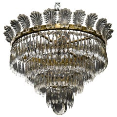 Very Fine Bronze and Crystal Pendant by Baccarat