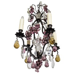 """Very Fine Bronze """"Cage"""" Louis XV Style Chandelier with Colored Pendalogues"""