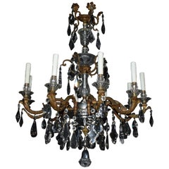 Very Fine Bronze & Crystal Chandelier Featuring Hand Cut Crystal Pendalogues