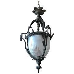 Very Fine Bronze Lantern with Handcut Dome