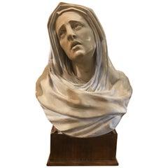 Very Fine Bust of Lady on Wooden Base